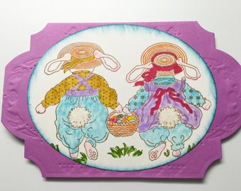 Handmade Easter cards - Easter Bunny Shaker cards - bunnies - Easter eggs - Happy Easter - purple and blue