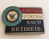 United States Navy Retired Belt Buckle Military Retirement Gift Made in USA