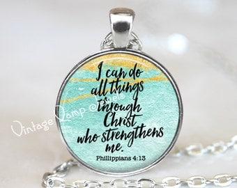 BIBLE Verse Necklace Pendant, Bible Scripture Quote Christian Gift Religious Jewelry Bible Jewelry Christianity, I Can Do All Things Christ