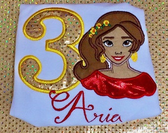 Princess  Elena of Avalor birthday shirt, Personalized, Embroidered, Appliqued, Monogrammed