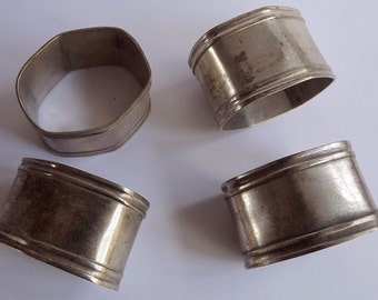 Vintage French Silver Plated Serviette Rings x4           (BX   01)