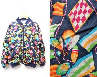 90s Flag Patterned Windbreaker Zip Up Jacket Womens Small-Medium