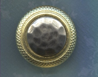 Set of 3 Old Gold and Silver Plastic Buttons-( 1 1/16 inch)-Item#202