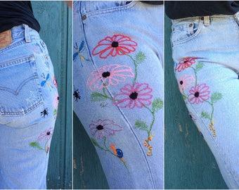 Hand Embroidered Jeans - Sequin Flower & Bug Embellished LEVI'S 501s - 29x32