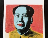 Andy Warhol's Mao 1972 - portrait series. unframed book plate page heavy paper. page size 11 x14 -image size 10 x 10 inches.saturated color