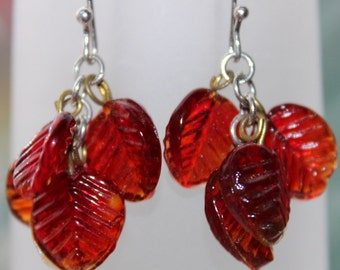 SALE-sterling silver earrings with  Vintage Red glass leaves and handmade sterling silver ear wires by Reneux- Treasury item