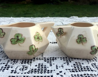 Shamrock Creamer & Sugar/Handmade Set/Shamrock Art Pottery/Sugar Creamer Set/St Patricks Day/Shamrock Serveware/Coffee Accessories/Unusual