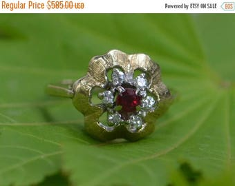 DEADsy LAST GASP SALE Ruby Engagement Ring, Art Nouveau with Diamond Star, Designer 14K Wedding Ring - Floral - Gingko Leaf - size 5 to 6