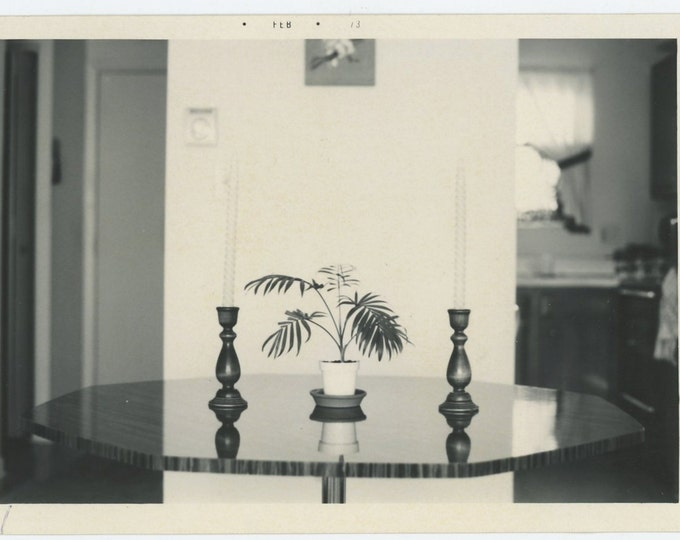 Vintage Snapshot Photo: Table with Candlesticks and Plant, Reflection, 1973 (71543)