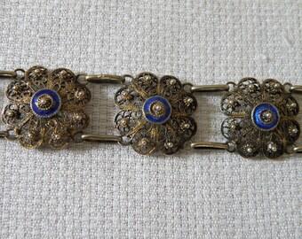 Vintage Silver Vermeil Filigree Bracelet with Blue Enamel