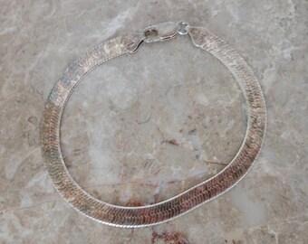 Sterling  Herring Bone Bracelet    Italy    7 1/2 Inch