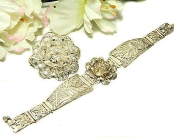 Silver Filigree Bracelet and Pin Brooch Flowers