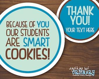 Teacher Appreciation Smart Cookies Gift Tags, Printable Teacher Circle Labels, INSTANT DOWNLOAD, digital file