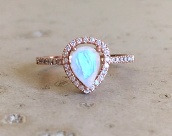 Rose Gold Moonstone Engagement Ring- Halo Pear Shape Moonstone Ring- Moonstone Promise Ring- Alternative Engagement Ring with Diamond