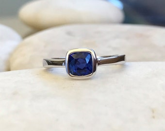 Tiny Square Blue Sapphire Ring- Stackable September Birthstone Ring- Blue Gemstone Childrens Ring- Small Midi Ring- Sterling Silver Ring