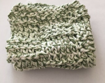 Knitted Dishcloth - Green and Cream - Cotton - Kitchen Cloth - Knitted Wash Cloth - Handmade Gift - Kitchen Accessory