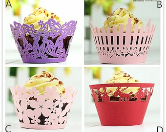 Lace cupcake liner, laser cut cupcake wrapper - Cake Deco, Party Decoration, Packaging-CC005