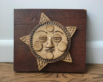 Ceramic Sun Face Wall Hanging - Ceramic Sun