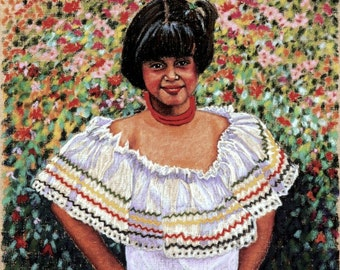 Girl From Costa Rica Fine Art Giclee Print, Tica, Archival print, Pastel Painting By Jan Maitland, Portrait, Figure, Young Girl, 8x10