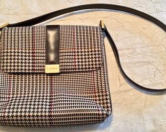 Vintage Tweed Ralph Lauren Magnetic Close Hand Bag, Purse in Ralph Lauren Plaid, One Zippered Inside Pocket, Large Pockets Across Back