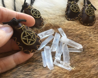 Crystal Amulet Medicine Bag - real quartz point with pentagram  - hand stitched leather brass charm --  pagan wiccan spiritual