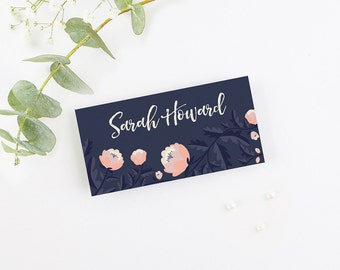 Blush and Navy Floral Folded Place Cards