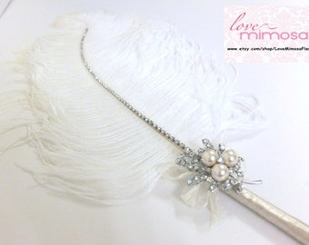 Large Ostrich Feather Pen with Pearl Brooch / Ivory Feather Pen/ Wedding Signing Pen / Guest Book Pen / Wedding Reception Accessories
