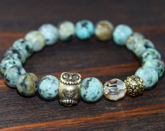 Women's Owl Bracelet. African Turquoise Bracelet. Women's Beaded Bracelet. Women's Gift. Yoga Bracelet. Lotus and Lava Bracelet.