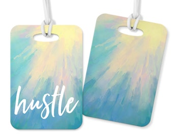 Hustle Watercolor Metal Double Sided Luggage Tag