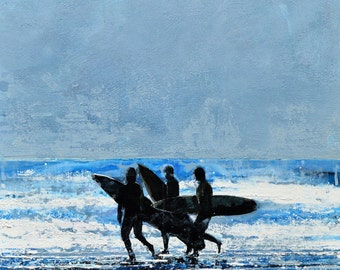 "SURF ART PRINT - surfers with blue ocean and sky - ""Atlantic Surfers, Nantucket"" by Melanie McDonald - surf decor - gifts for him - surf art"