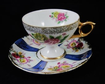 Lipper & Mann Royal Halsey, Very Fine China Cup and Saucer, Rose Decor, Gold Trim, Luster Finish,  Made in Japan