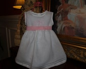 Baby and Toddler Girl White Linen Easter/Christening/Baptismal Dress with Hemstitching Monogrammed