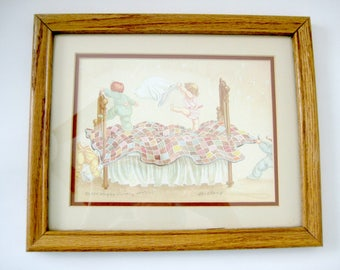 """Childs Print, Vintage Nursery Print, Peggy Dickey Print """"The Champ"""", Jumping on the bed print, Vintage Nursery Decor, Vintage Nursery Art"""