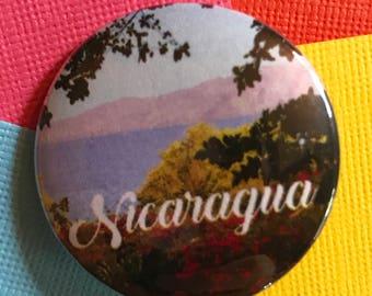 Nicaragua Travel Pinback Button, Nicaragua Pin, Nicaragua Keychain, Nicaragua Magnet, Granada Managua, Nicaragua Backpack Pin