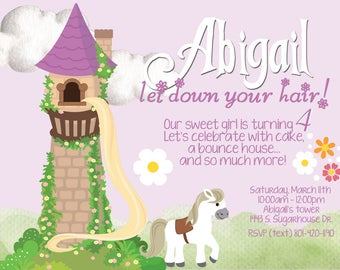 Darling Rapunzel birthday invitation