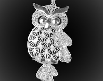 OWL pendant in silver embroidery