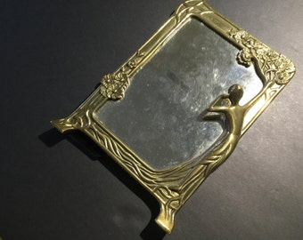 Vintage Art Nouveau Style Brass Mirror Female Figure