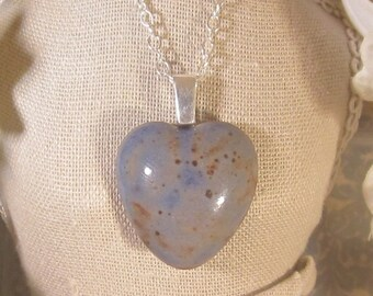 Memorial Cabochon with Bail - Pendant or Necklace - Custom Keepsake Stoneware Pottery Pet Cremains Charm - Choose Color - Heart
