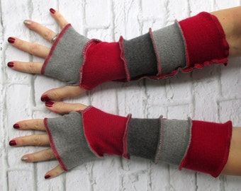 Texting Gloves - Driving Gloves - Trendy Gift for Her - Arm Sleeves - Fingerless Gloves - Wrist Warmers - Red Grey - Handmade Clothing