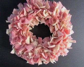 Peppermint Rag Wreath Vintage Wool Christmas Wreath