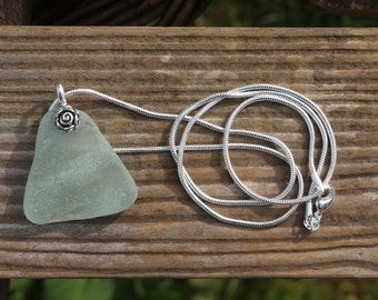 aqua washboard patterned sea glass #seaglass Scottish beach jewelry pendant silver necklace snake chain