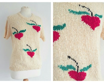 Vintage Short Sleeve Cherry Sweater - Lemon Yellow Knitted Jumper