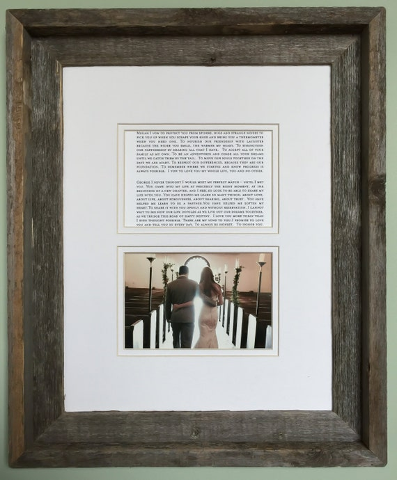 wedding picture frame wedding frame printed wedding vows and
