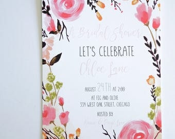 BRIDAL SHOWER INVITATIONS  - Floral Themes