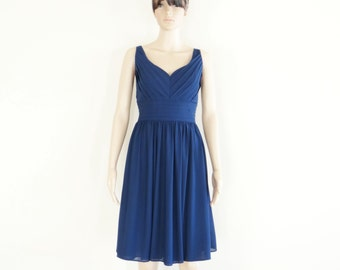 Navy Blue Bridesmaid Dress. Navy Blue Party Dress. Stretch Evening Dress. Knee Length Dress.