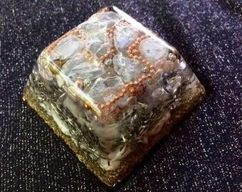 Pyramid, Truncated Square Pyramid, Square Frustrum, Celestite, Rainbow Moonstone and Lavender Crystal, approx. 1 lb 3oz, Mental Clarity