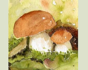 Mushrooms Aceo,  miniature original watercolour painting, fall season, fungi, boletus, forest, nature, botanical, moss, leaves, woods