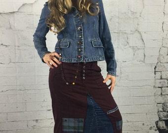 Long Denim Skirt, Upcycled Clothing, Boho Clothing, Bohemian Clothing, Denim Skirt, Denim Maxi Skirt, Maxi Skirt, Boho Skirt, Womens Skirts