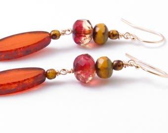 Orange & Red Bohemian Earrings - Picasso Czech Glass - Gold Fill Long Boho Dangles Earrings Handmade USA