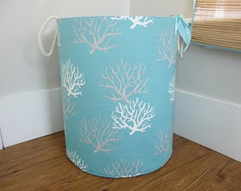 "Extra Large Hamper, Fabric Storage Laundry Basket, Coastal Coral Fabric Organizer, Toy or Nursery Basket, Storage Bin - 20"" Tall"
